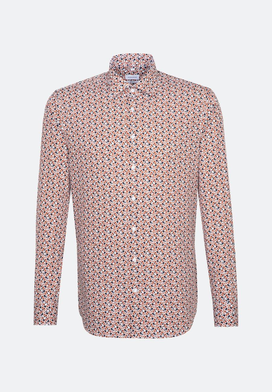 Bügelleichtes Popeline Business Hemd in Shaped mit Kentkragen in Orange |  Seidensticker Onlineshop
