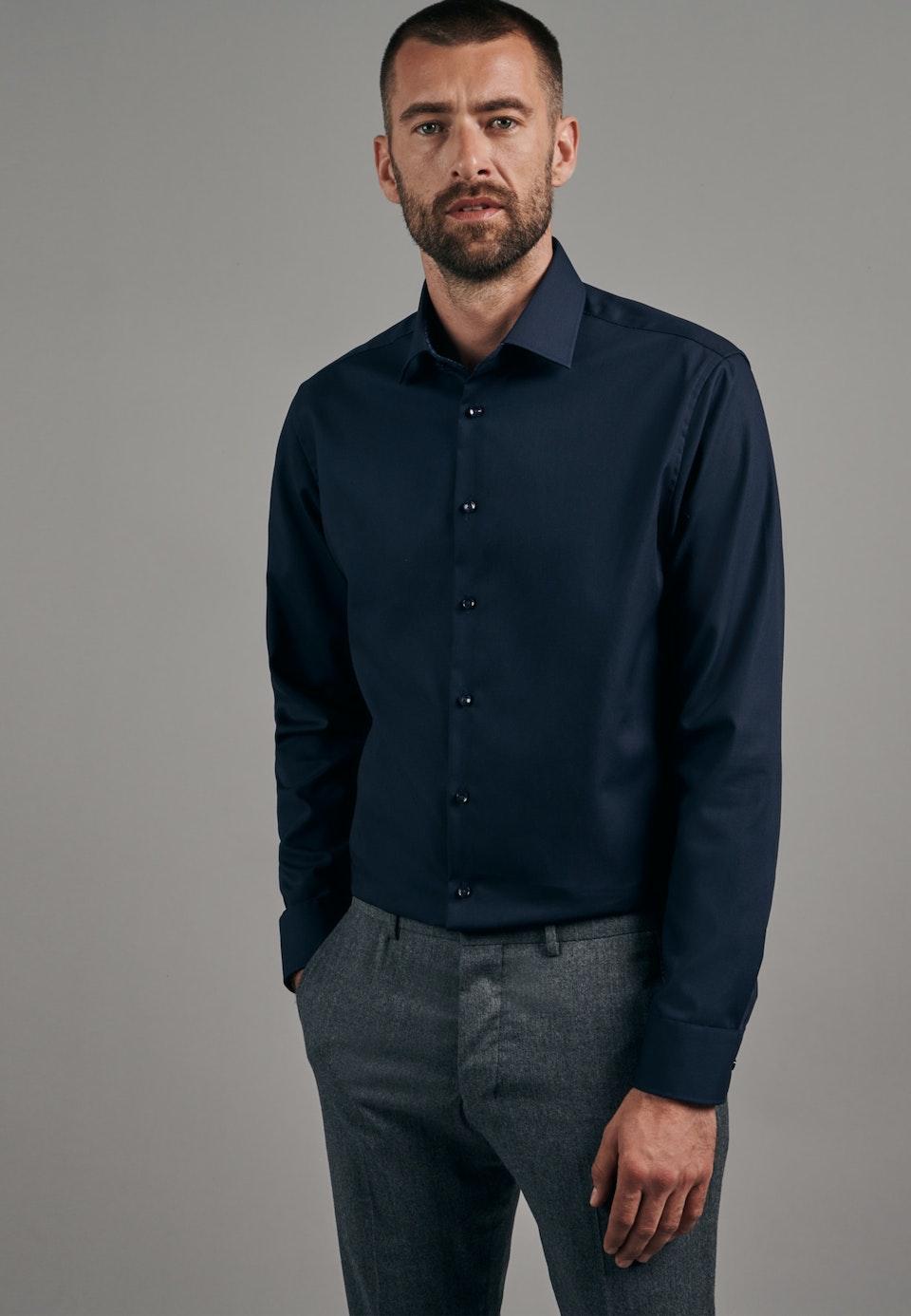 Non-iron Popeline Business Shirt in Slim with Kent-Collar in Dark blue    Seidensticker Onlineshop