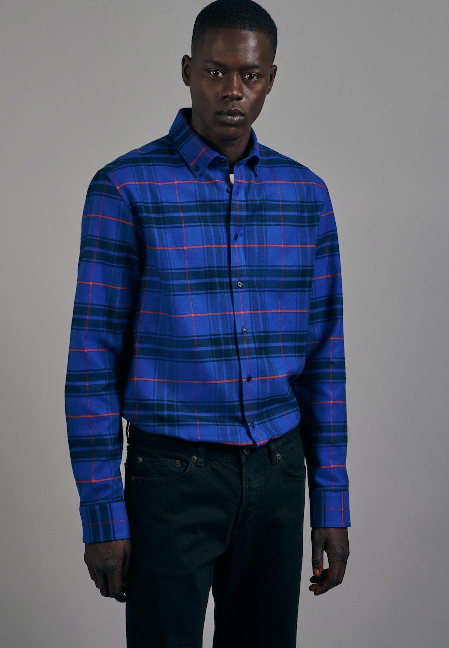 Flanell Business Hemd in Shaped mit Button-Down-Kragen in Mittelblau |  Seidensticker Onlineshop