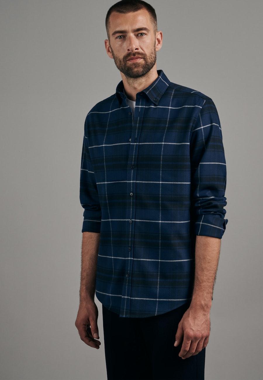 Flanell Business Hemd in Shaped mit Button-Down-Kragen in Dunkelblau |  Seidensticker Onlineshop