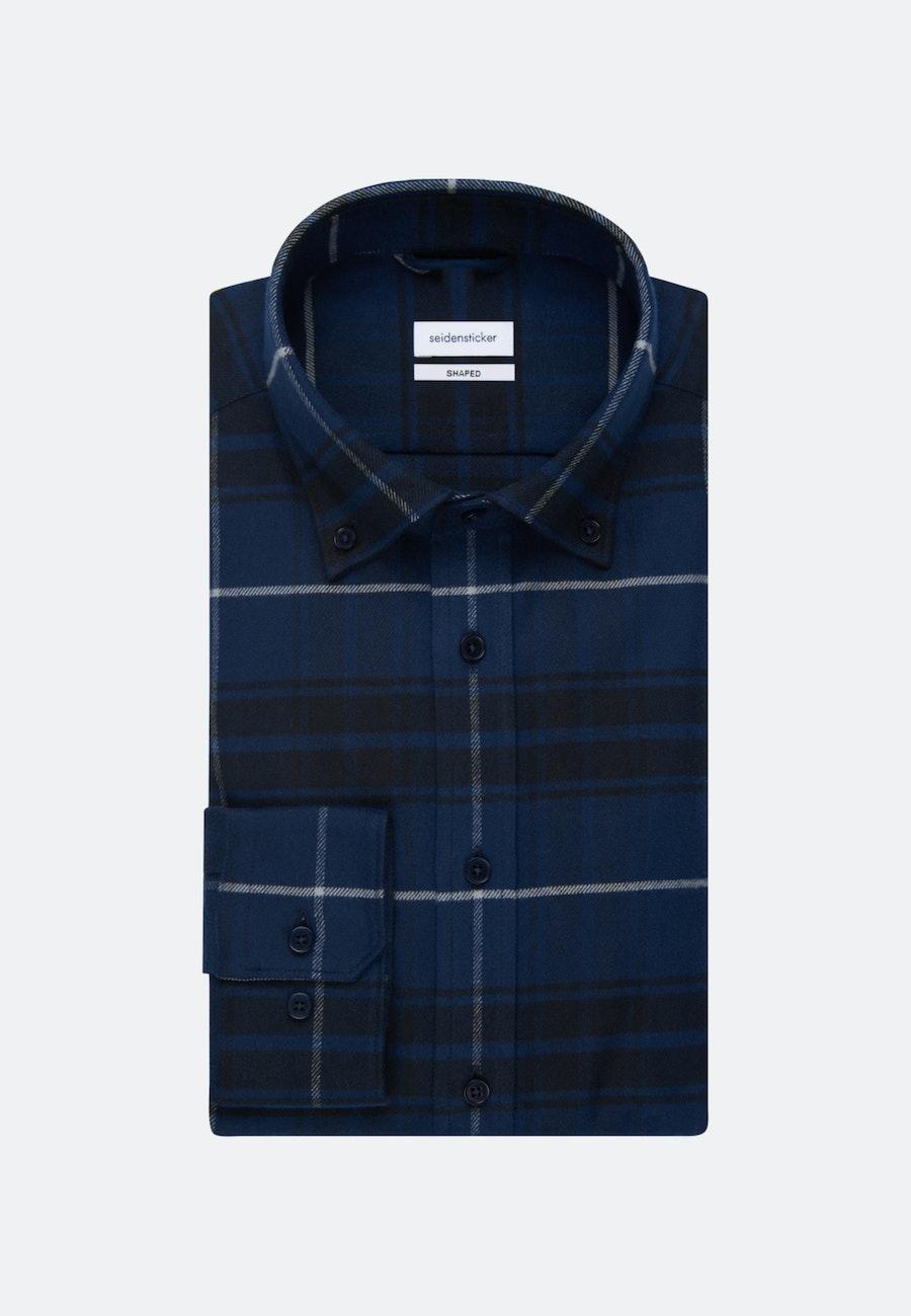 Flannel Business Shirt in Shaped with Button-Down-Collar in Dark blue |  Seidensticker Onlineshop