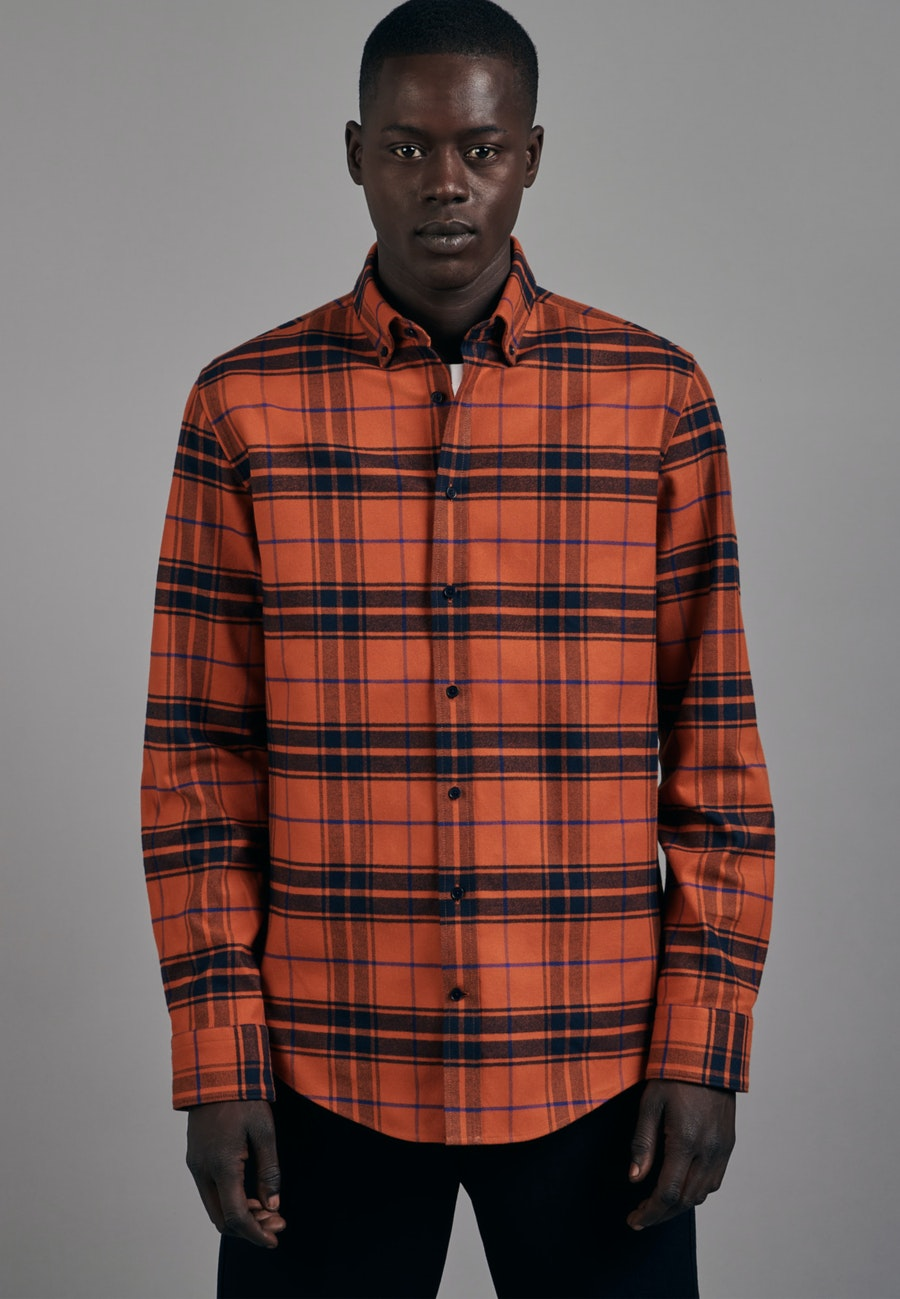 Flanell Business Shirt in Shaped with Button-Down-Collar in Orange |  Seidensticker Onlineshop