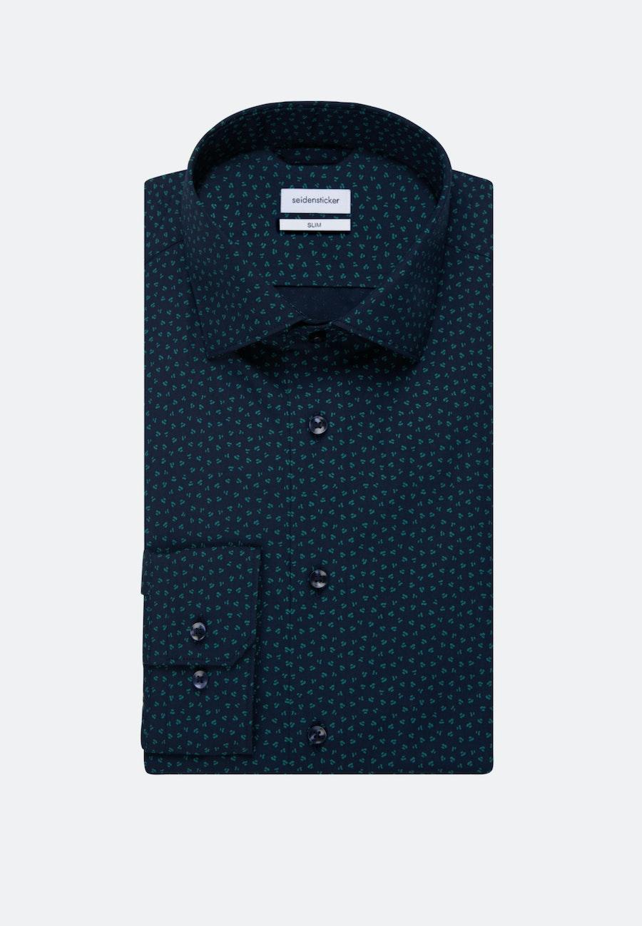 Bügelleichtes Popeline Business Hemd in Slim mit Kentkragen in Grün    Seidensticker Onlineshop