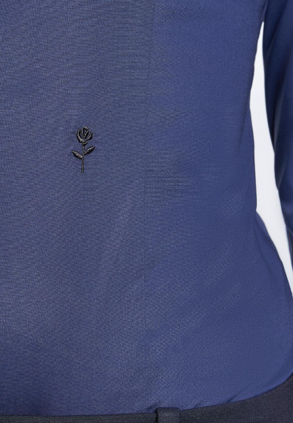 Popeline Bodybluse aus Baumwollmischung in Dunkelblau |  Seidensticker Onlineshop
