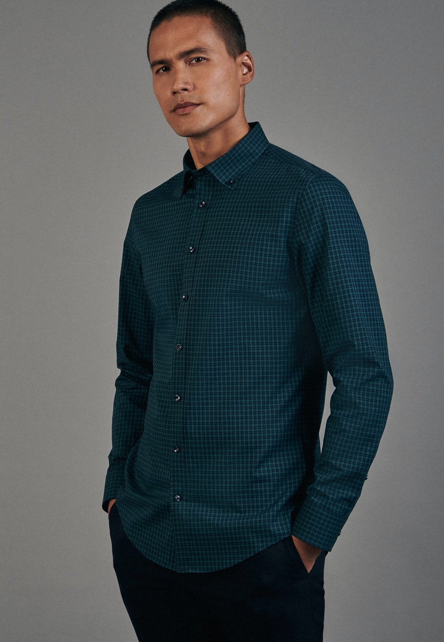 Non-iron Popeline Business Shirt in Slim with Button-Down-Collar in Green |  Seidensticker Onlineshop