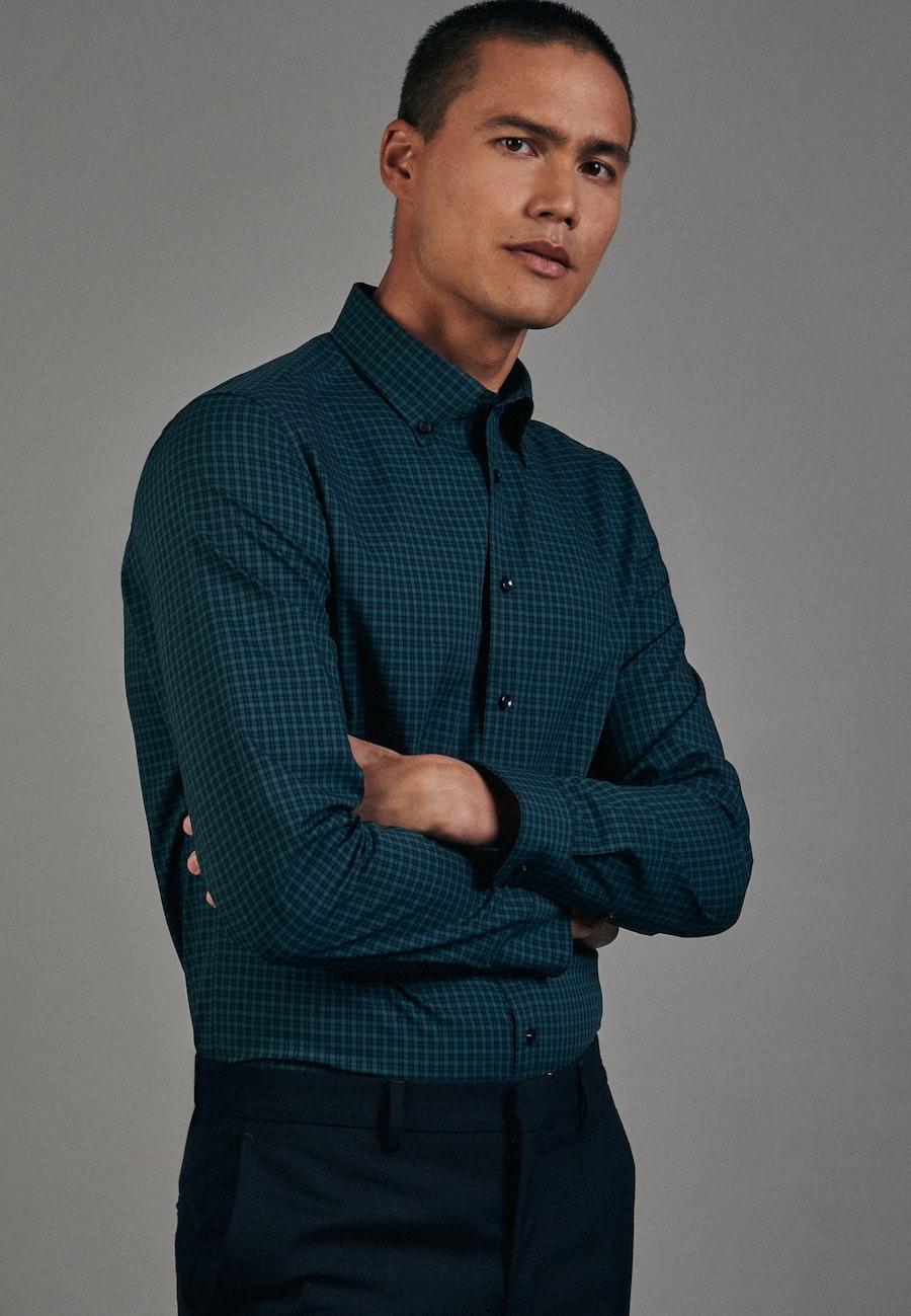 Non-iron Popeline Business Shirt in Slim with Button-Down-Collar in Green |  Seidensticker Onlineshop