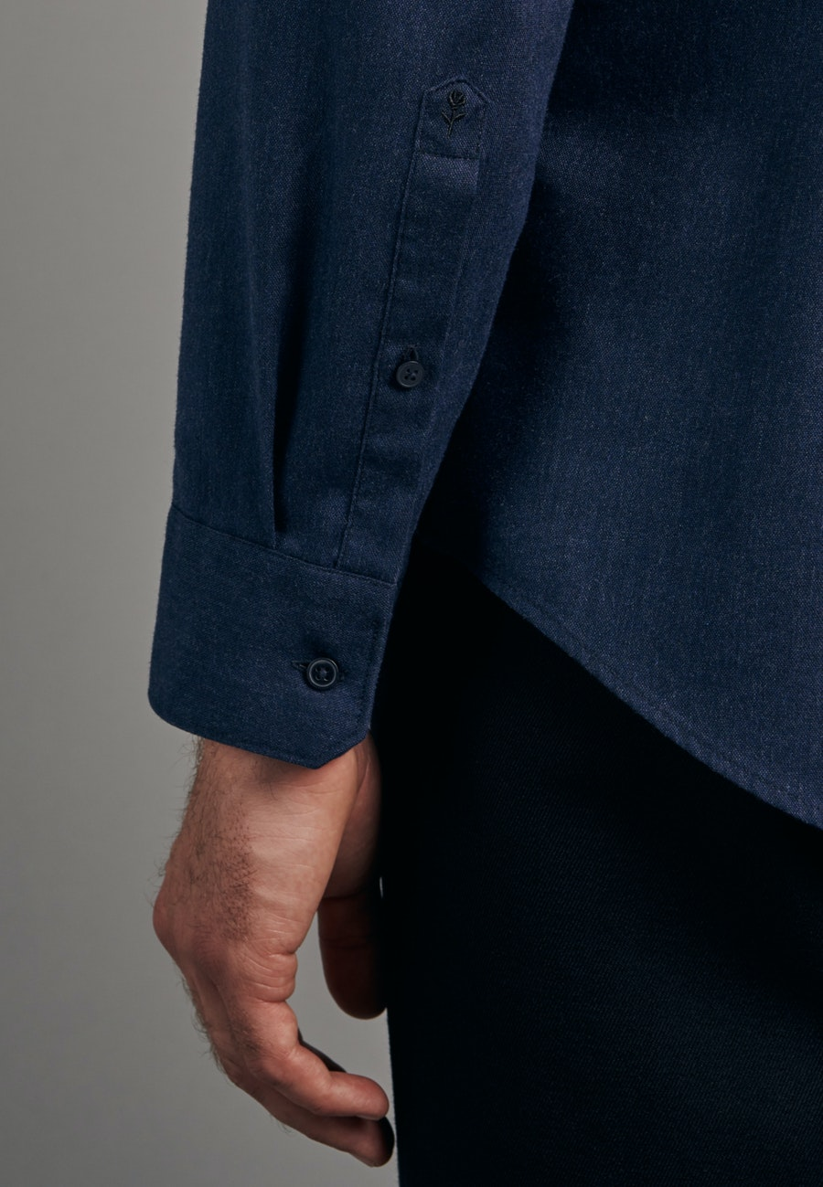Panama Business Shirt in Slim with Button-Down-Collar in Dark blue |  Seidensticker Onlineshop
