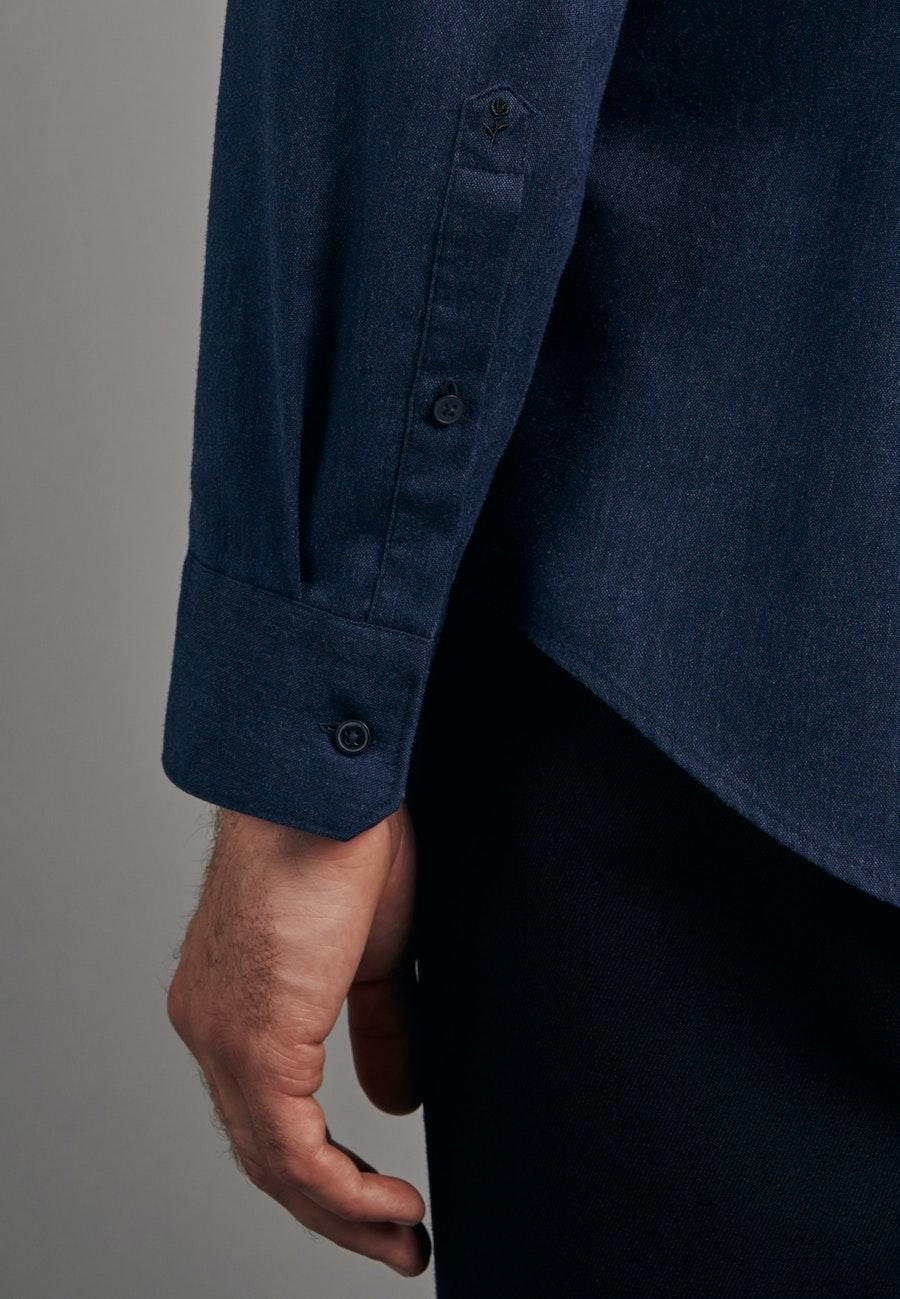 Panama Business Shirt in Slim with Button-Down-Collar in Dark blue    Seidensticker Onlineshop