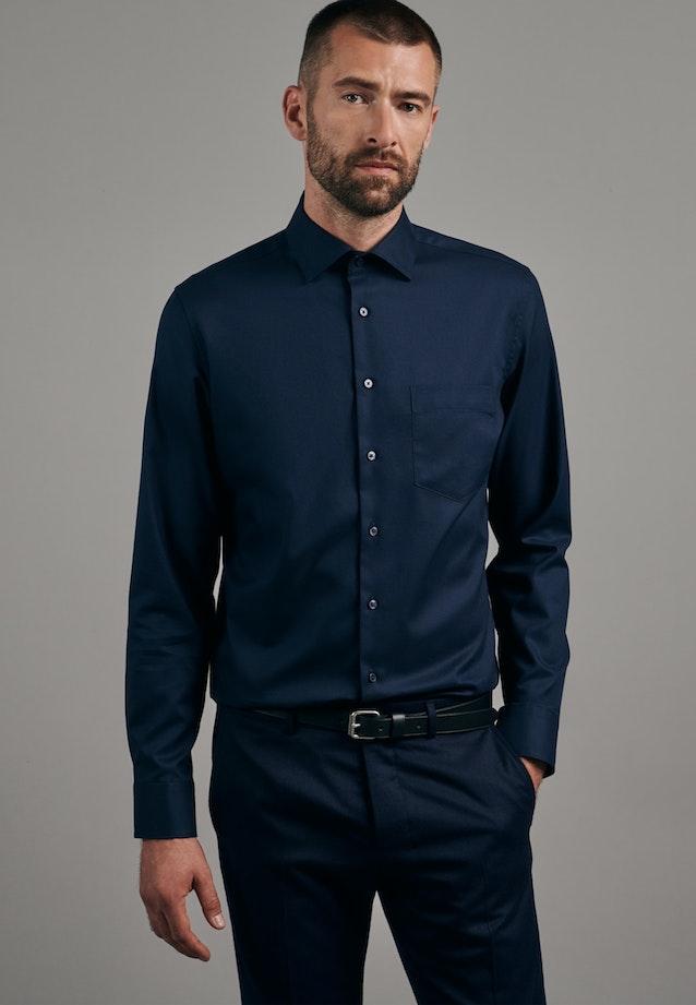 Twill Business Shirt in Slim with Kent-Collar in Dark blue    Seidensticker Onlineshop