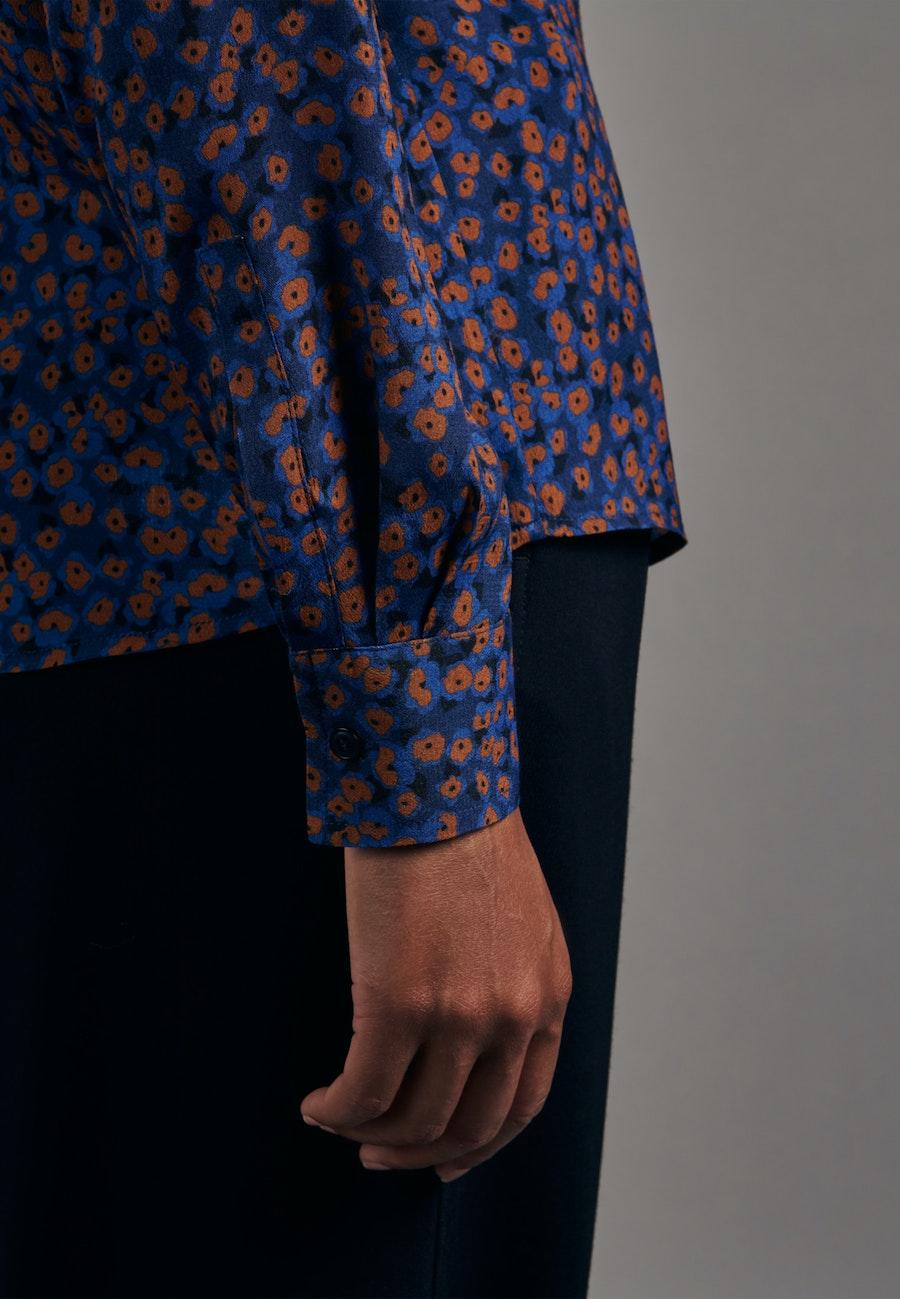 Popeline Schluppenbluse aus 100% Viskose in Mittelblau |  Seidensticker Onlineshop