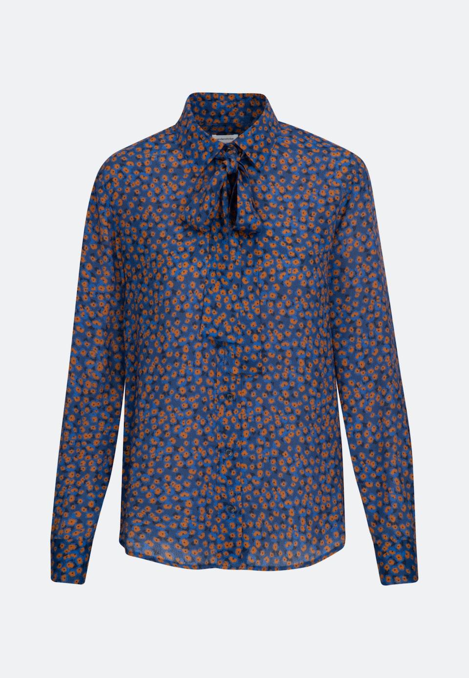 Popeline Tie-Neck Blouse made of 100% Viscose in Medium blue |  Seidensticker Onlineshop