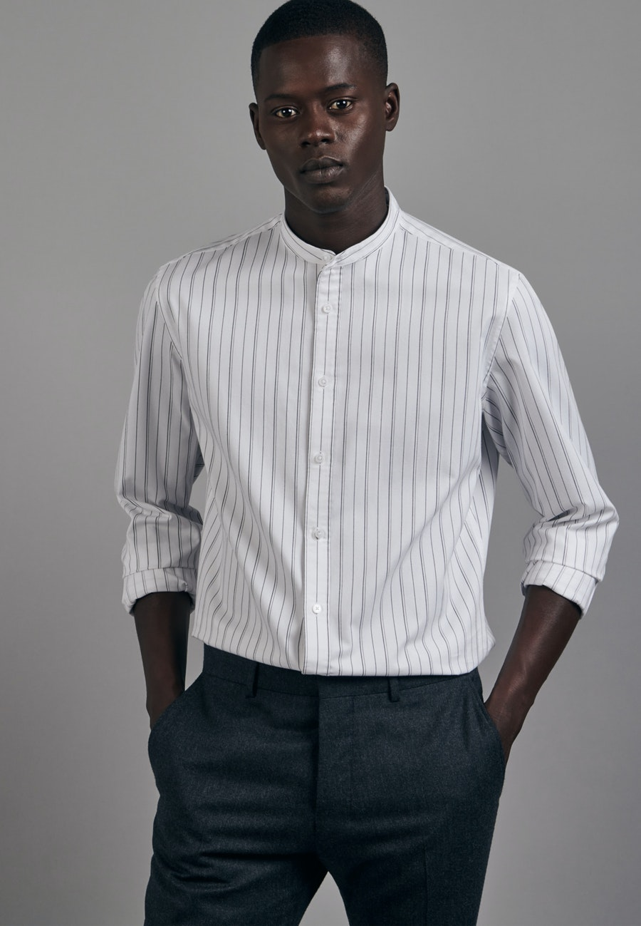 Twill Business Shirt in Shaped with Stand-Up Collar in White    Seidensticker Onlineshop