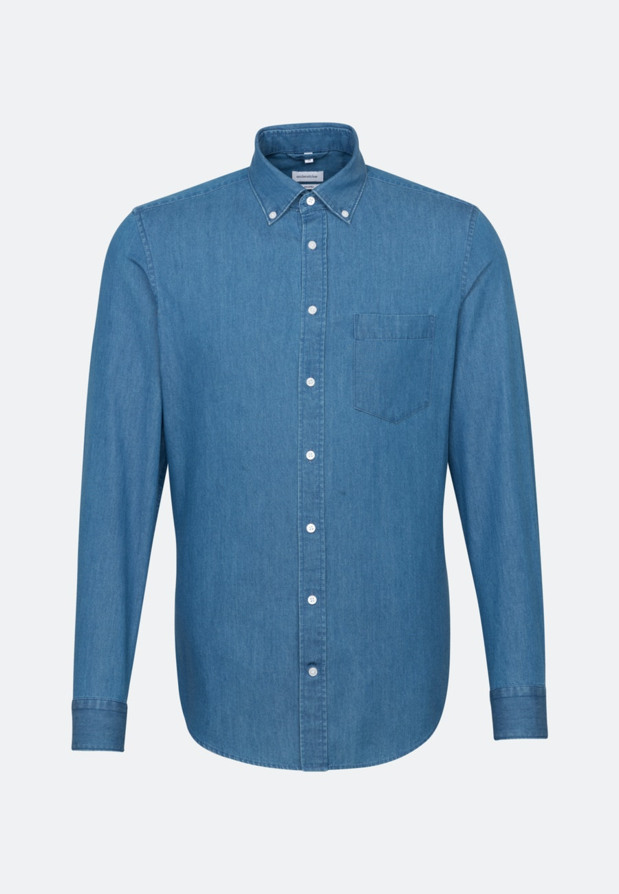 Easy-iron Denim Business Shirt in Shaped with Button-Down-Collar in Medium blue |  Seidensticker Onlineshop