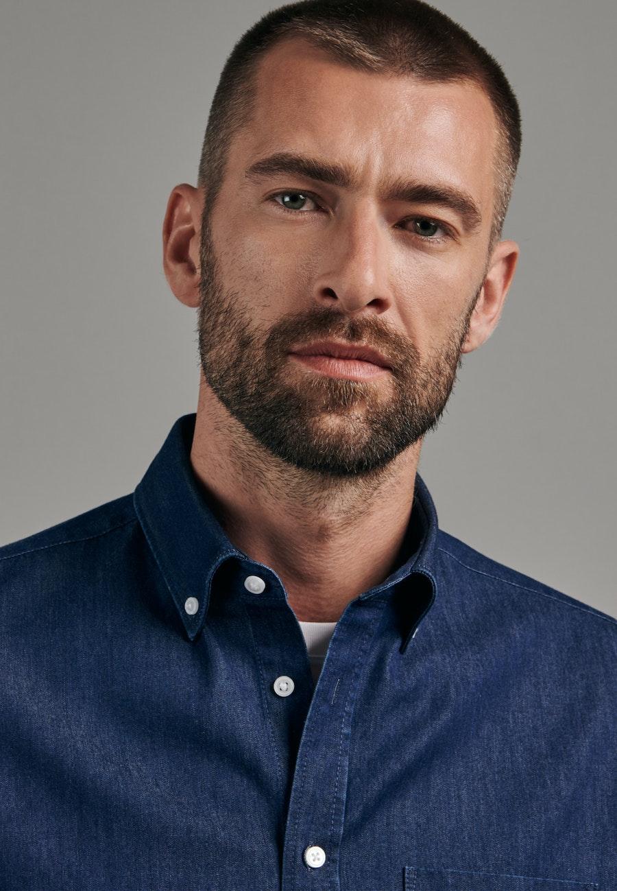 Easy-iron Denim Business Shirt in Shaped with Button-Down-Collar in Dark blue    Seidensticker Onlineshop