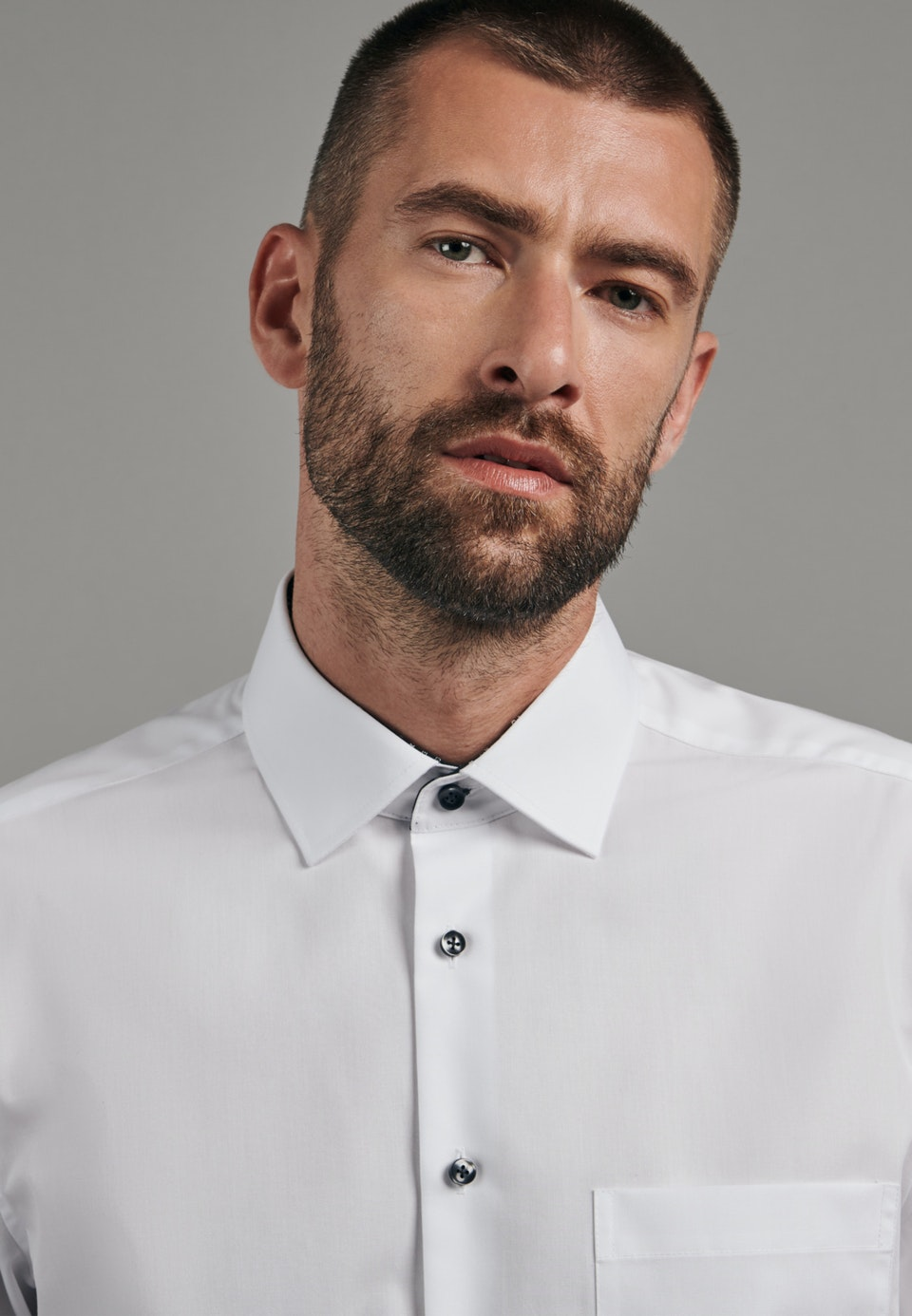 Non-iron Poplin Business Shirt in Comfort with Kent-Collar in White |  Seidensticker Onlineshop