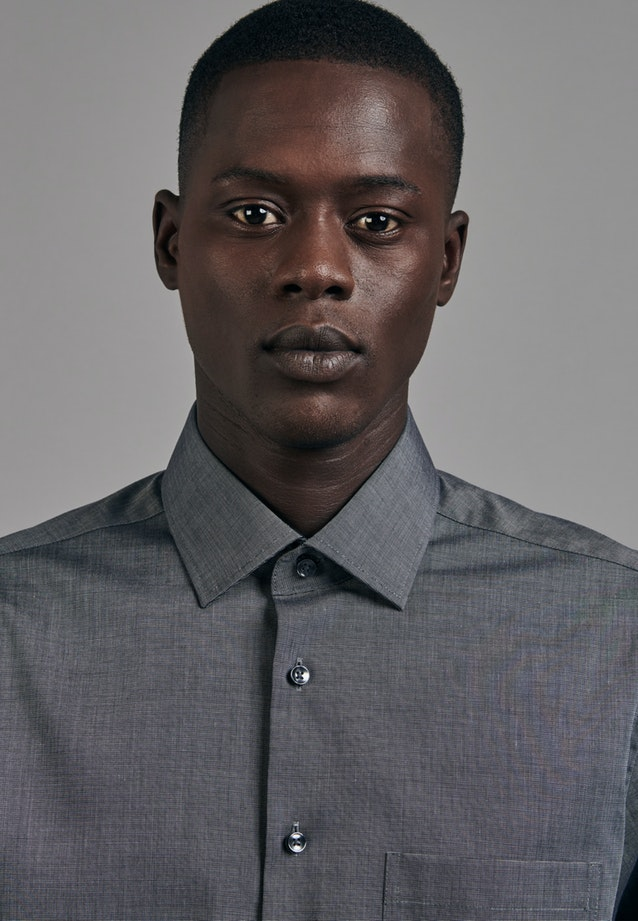 Non-iron Popeline Business Shirt in Comfort with Kent-Collar in Grey    Seidensticker Onlineshop