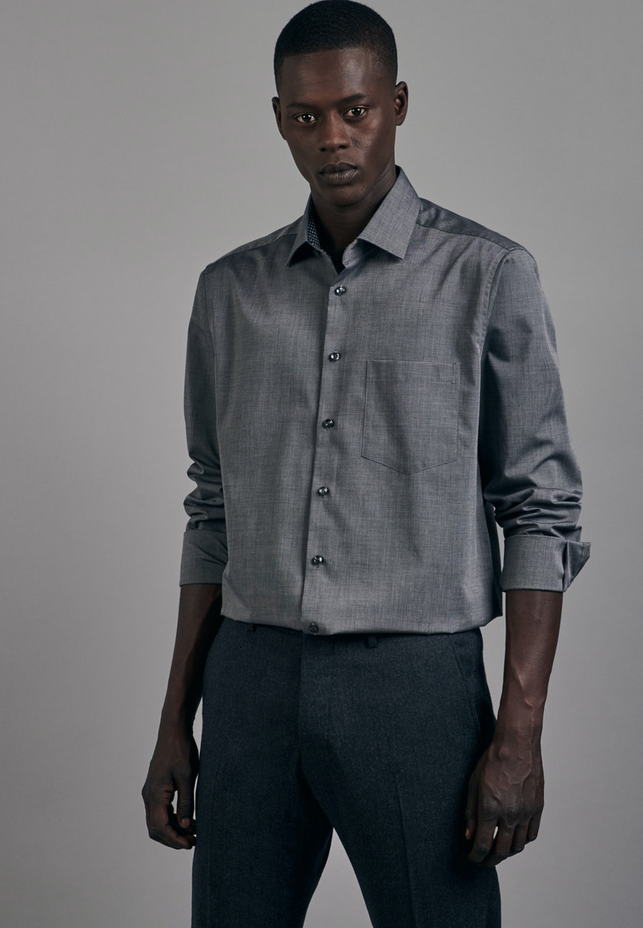 Bügelfreies Popeline Business Hemd in Comfort mit Kentkragen in Grau |  Seidensticker Onlineshop