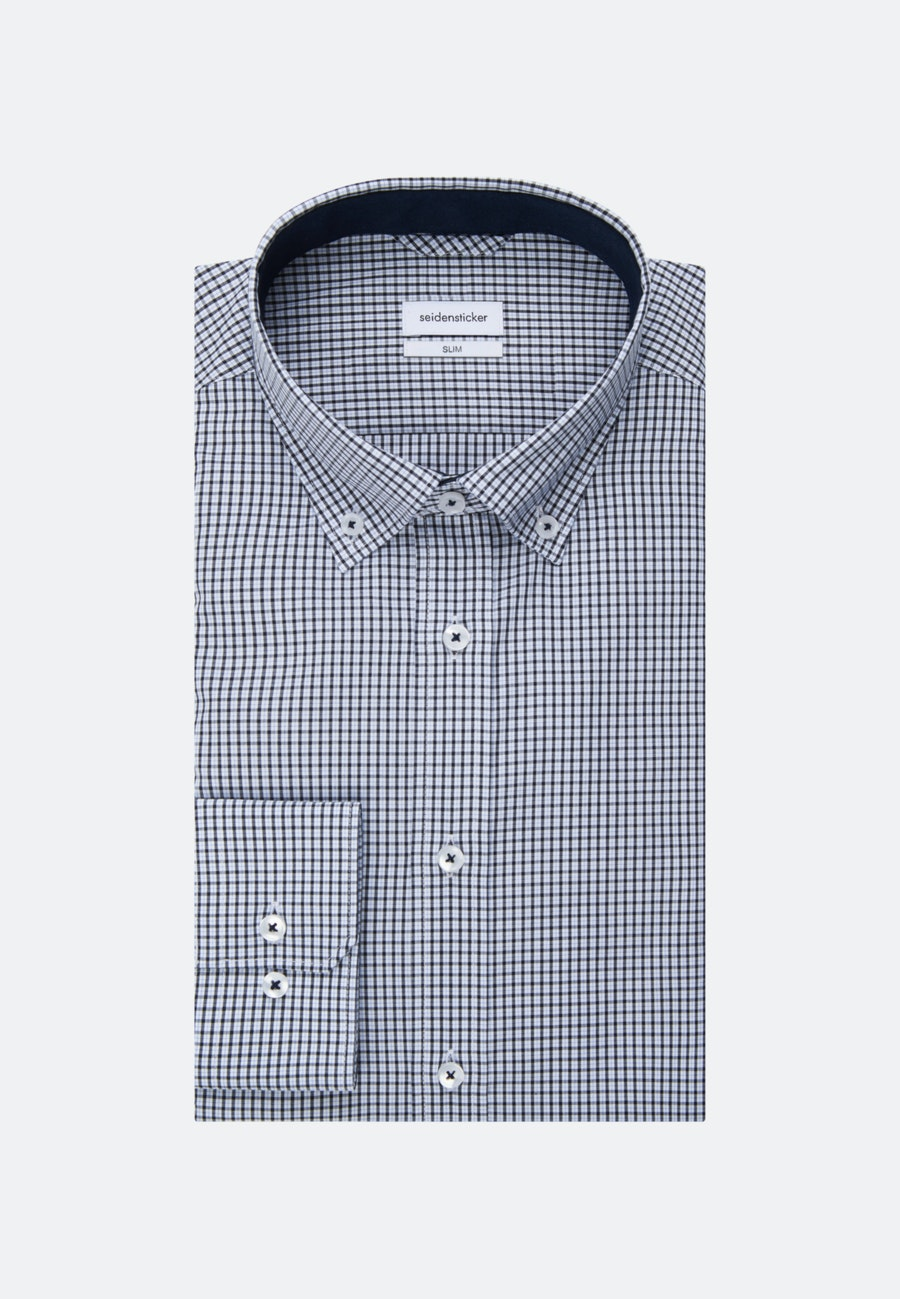 Bügelfreies Popeline Business Hemd in Slim mit Button-Down-Kragen in Dunkelblau |  Seidensticker Onlineshop