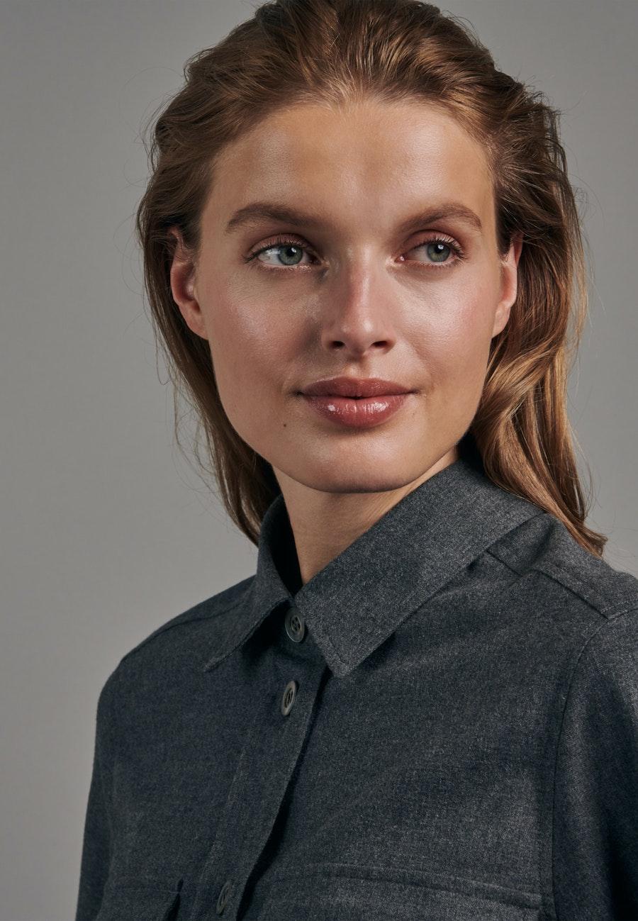 Flanell Hemdbluse aus 100% Baumwolle in Grau    Seidensticker Onlineshop