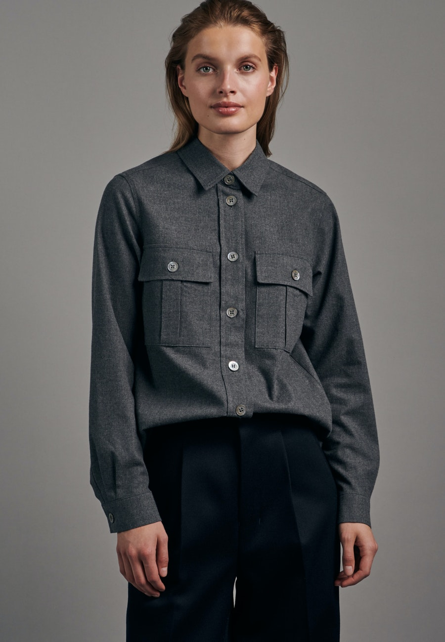 Flanell Shirt Blouse made of 100% Cotton in Grey |  Seidensticker Onlineshop