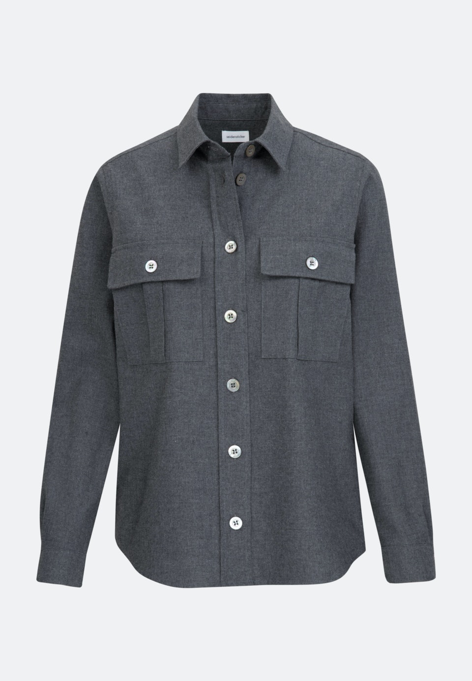 Flannel Shirt Blouse made of 100% Cotton in Grey |  Seidensticker Onlineshop