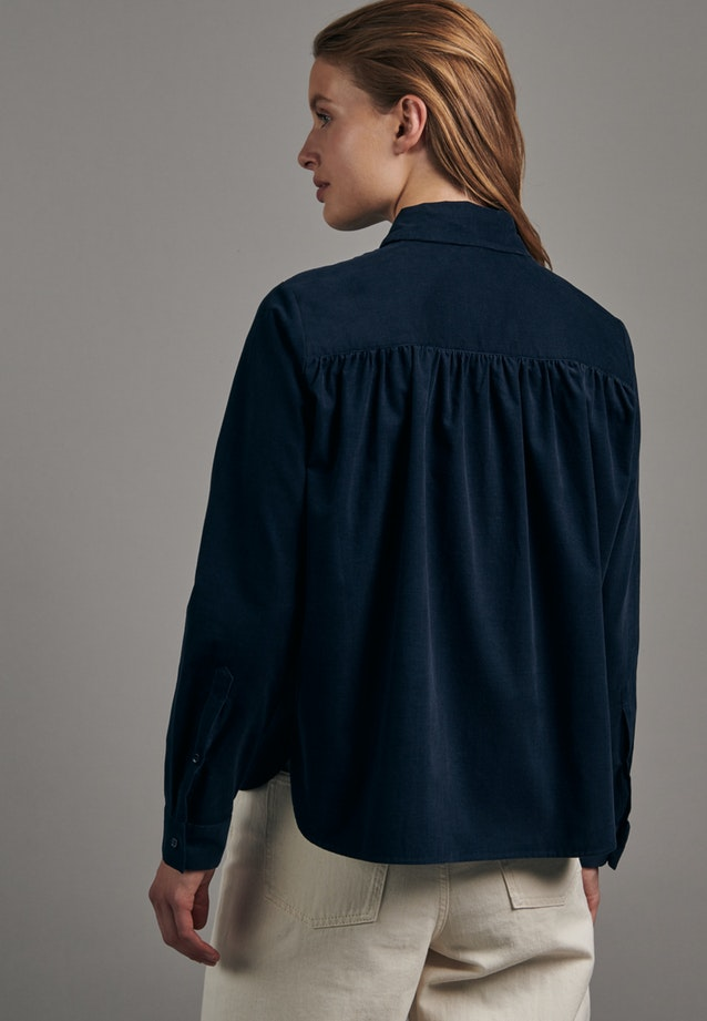 Cord Shirt Blouse made of 100% Cotton in Dark blue |  Seidensticker Onlineshop