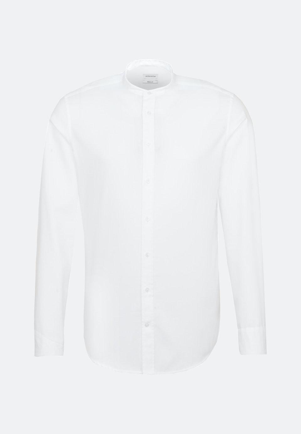 Twill Business Shirt in Regular with Stand-Up Collar in White    Seidensticker Onlineshop