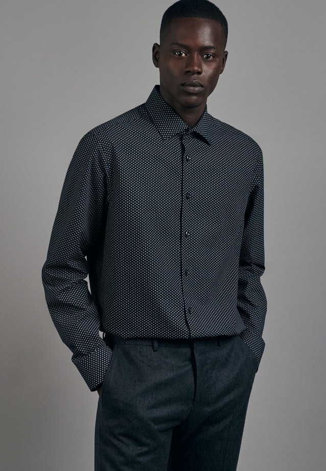 Easy-iron Popeline Business Shirt in Comfort with Kent-Collar in Black |  Seidensticker Onlineshop
