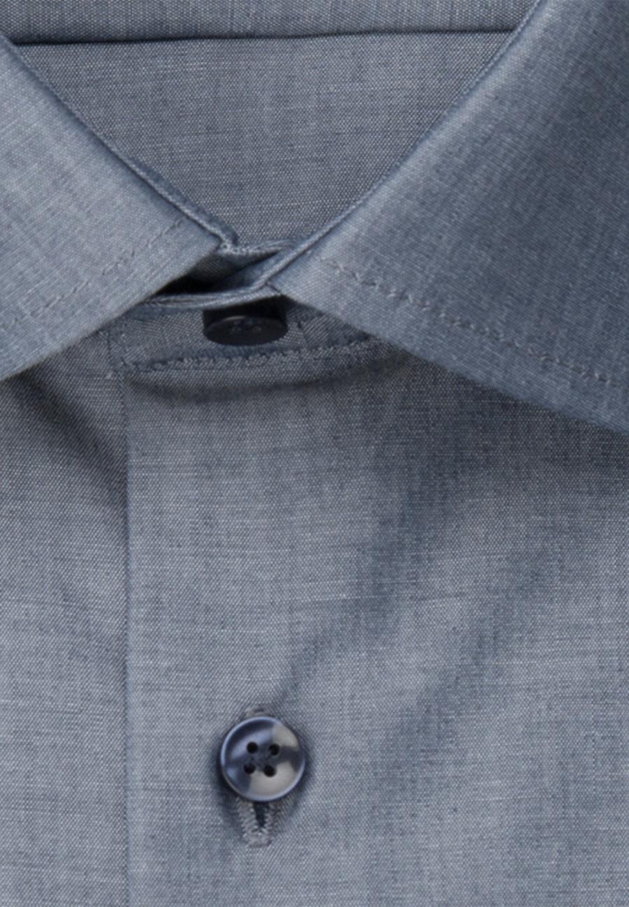 Bügelfreies Chambray Kurzarm Business Hemd in Slim mit Kentkragen in Dunkelblau |  Seidensticker Onlineshop