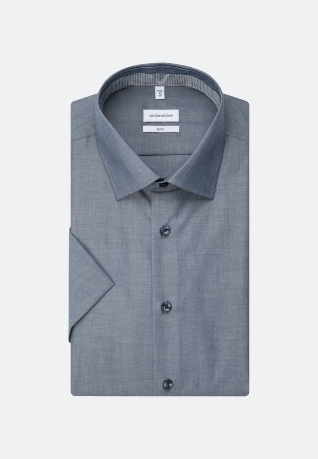 Non-iron Chambray Short sleeve Business Shirt in Slim with Kent-Collar in Dark blue |  Seidensticker Onlineshop