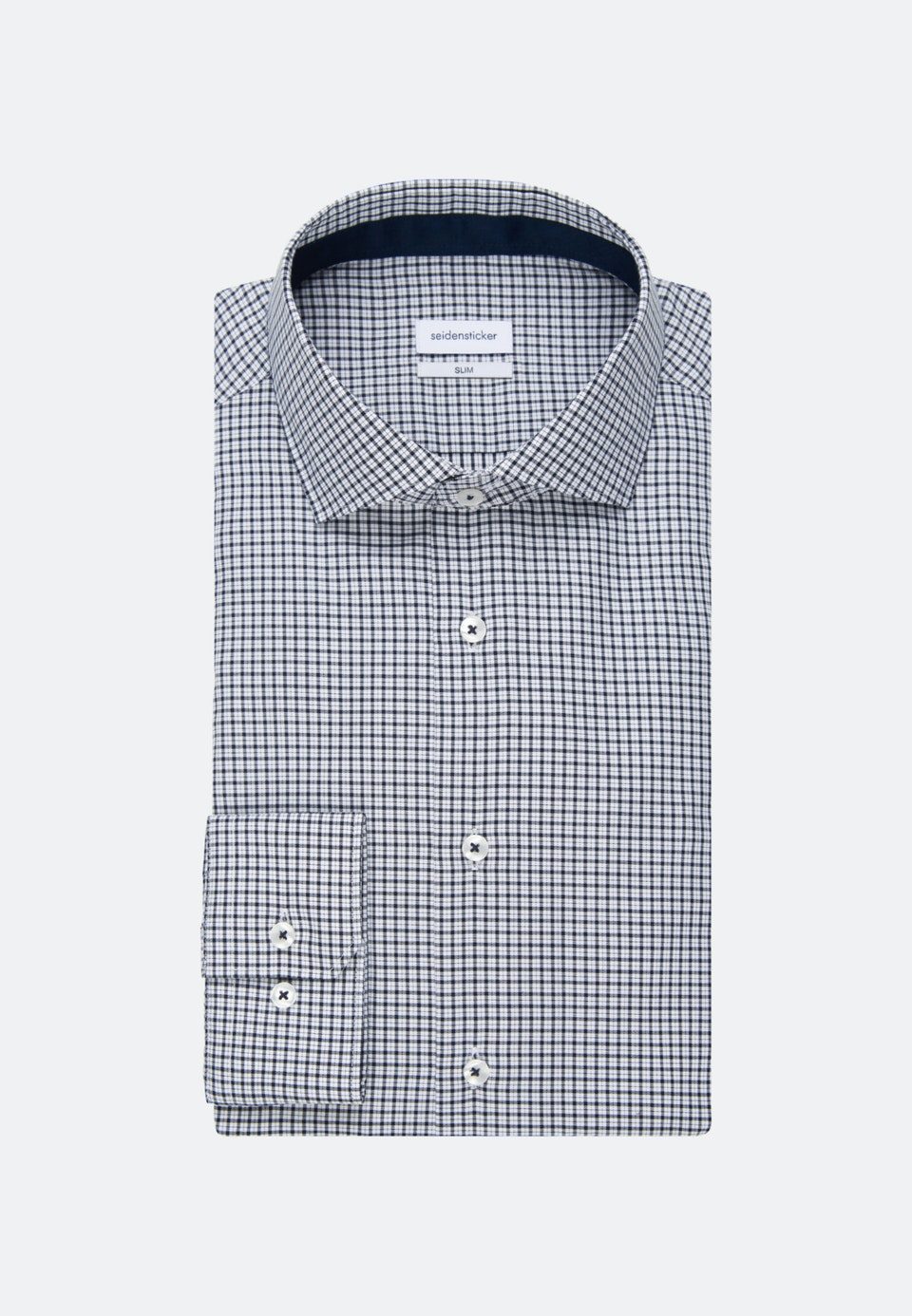 Bügelfreies Twill Business Hemd in Slim mit Kentkragen in Dunkelblau    Seidensticker Onlineshop