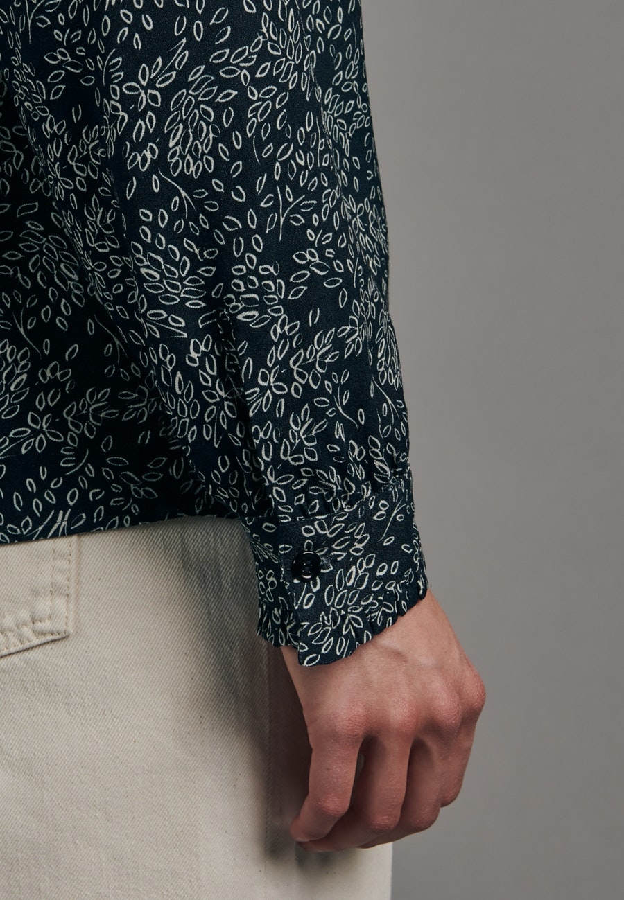 Krepp Stand-Up Blouse made of 100% Viscose in Dark blue |  Seidensticker Onlineshop