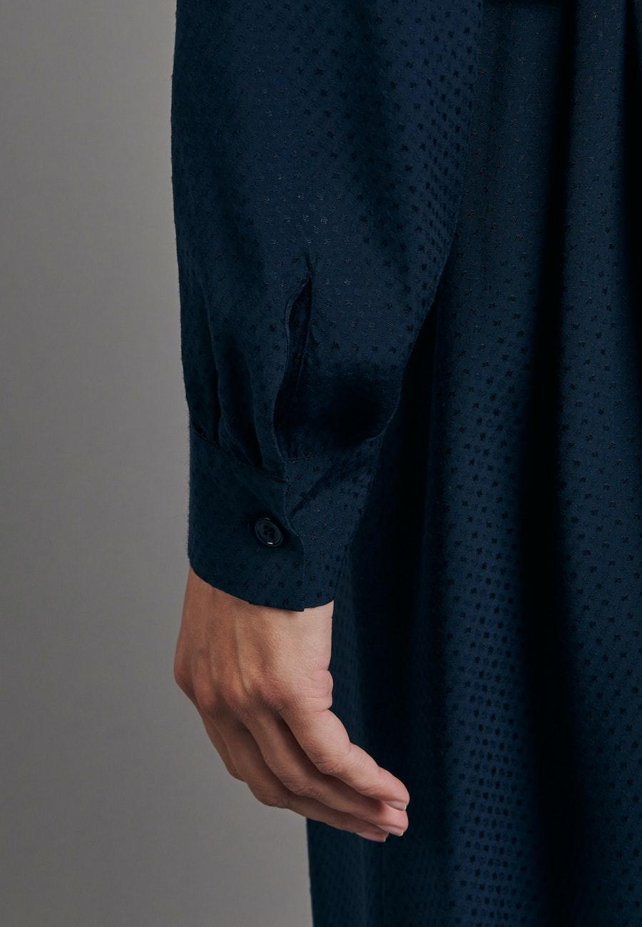 Jacquard Midi Kleid aus 100% Viskose in Dunkelblau |  Seidensticker Onlineshop