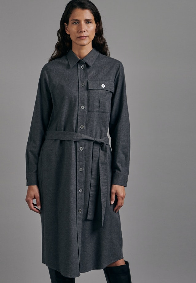 Flanell Midi Dress made of 100% Cotton in Grey |  Seidensticker Onlineshop