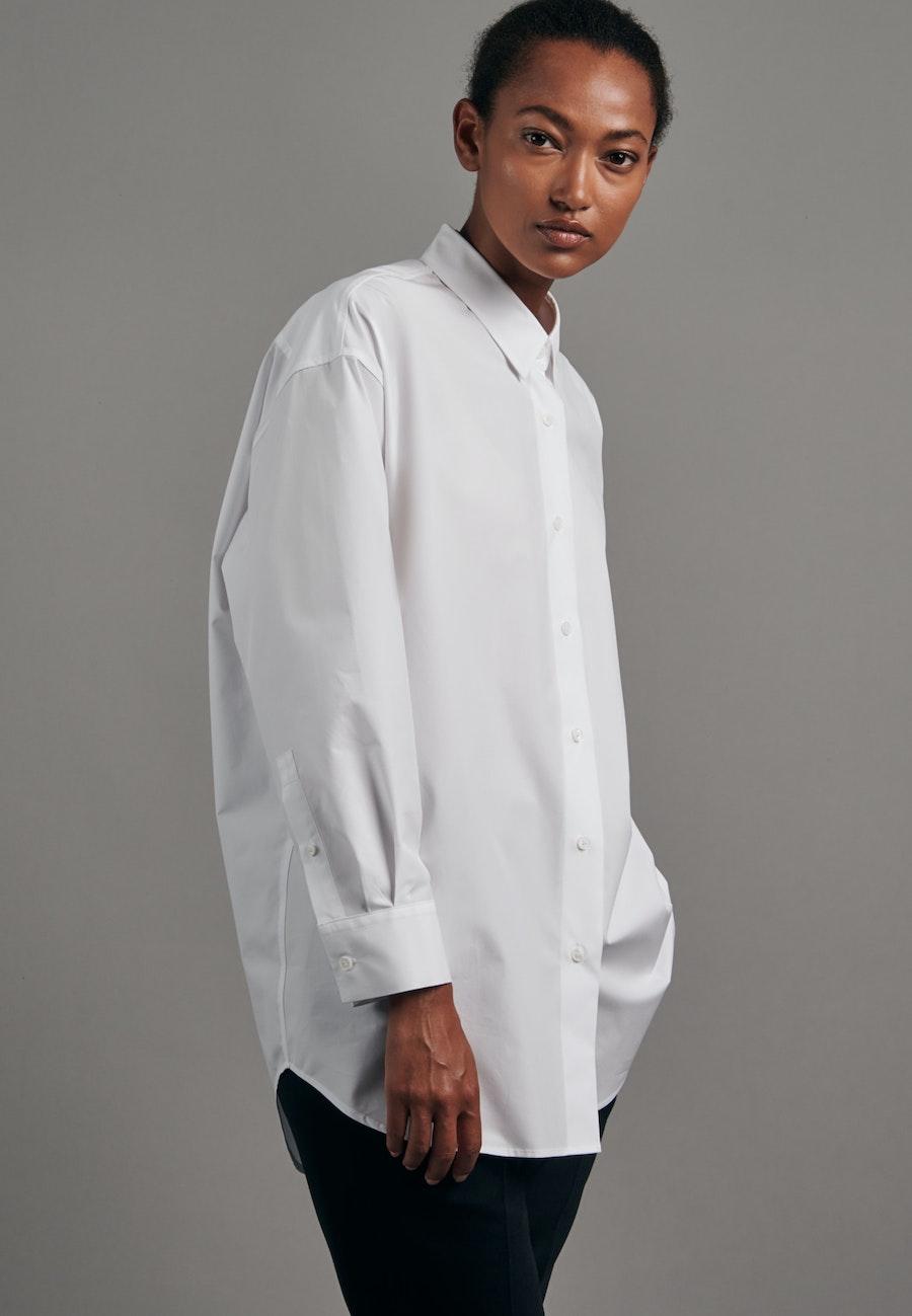 Popeline Longbluse aus 100% Baumwolle in Weiß |  Seidensticker Onlineshop