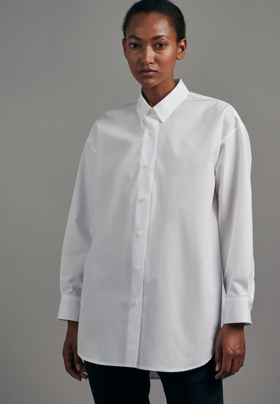 Popeline Long Blouse made of 100% Cotton in White |  Seidensticker Onlineshop