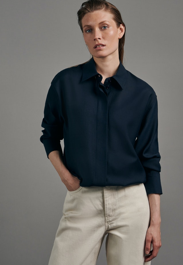 Gabardine Long Blouse made of wool blend in Dark blue |  Seidensticker Onlineshop