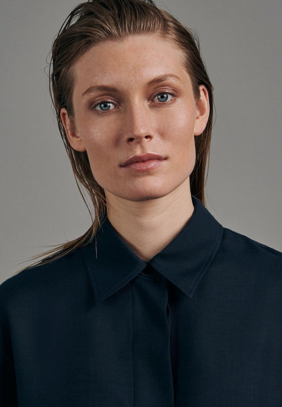 Gabardine Long Blouse made of wool blend in Dark blue |  Seidensticker Onlineshop