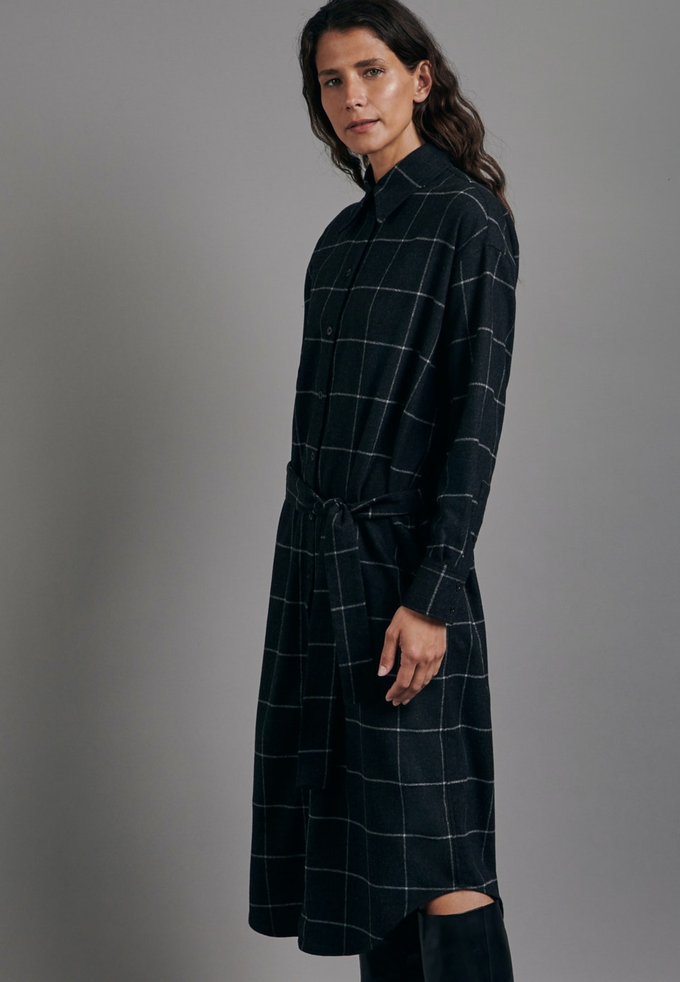Flanell Maxi Kleid aus Wollmischung in Grau |  Seidensticker Onlineshop