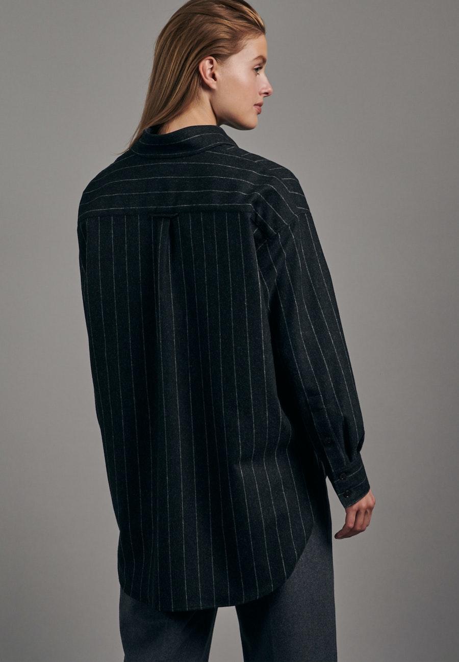 Flanell Long Blouse made of wool blend in Grey |  Seidensticker Onlineshop