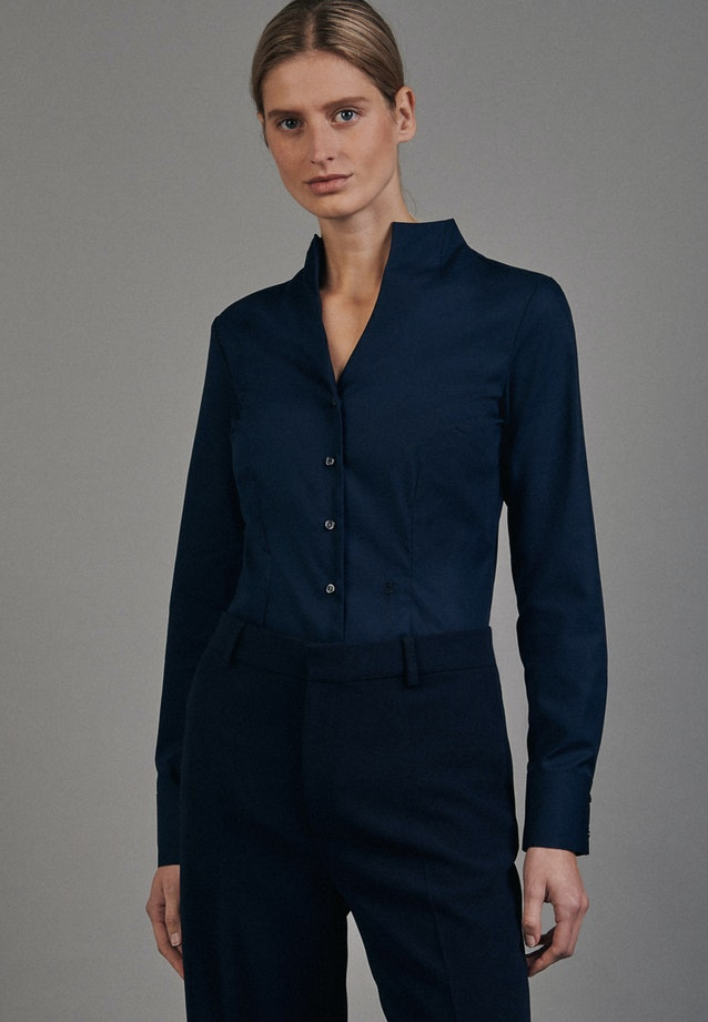 Non-iron Popeline Chalice Blouse made of 100% Cotton in Dark blue |  Seidensticker Onlineshop