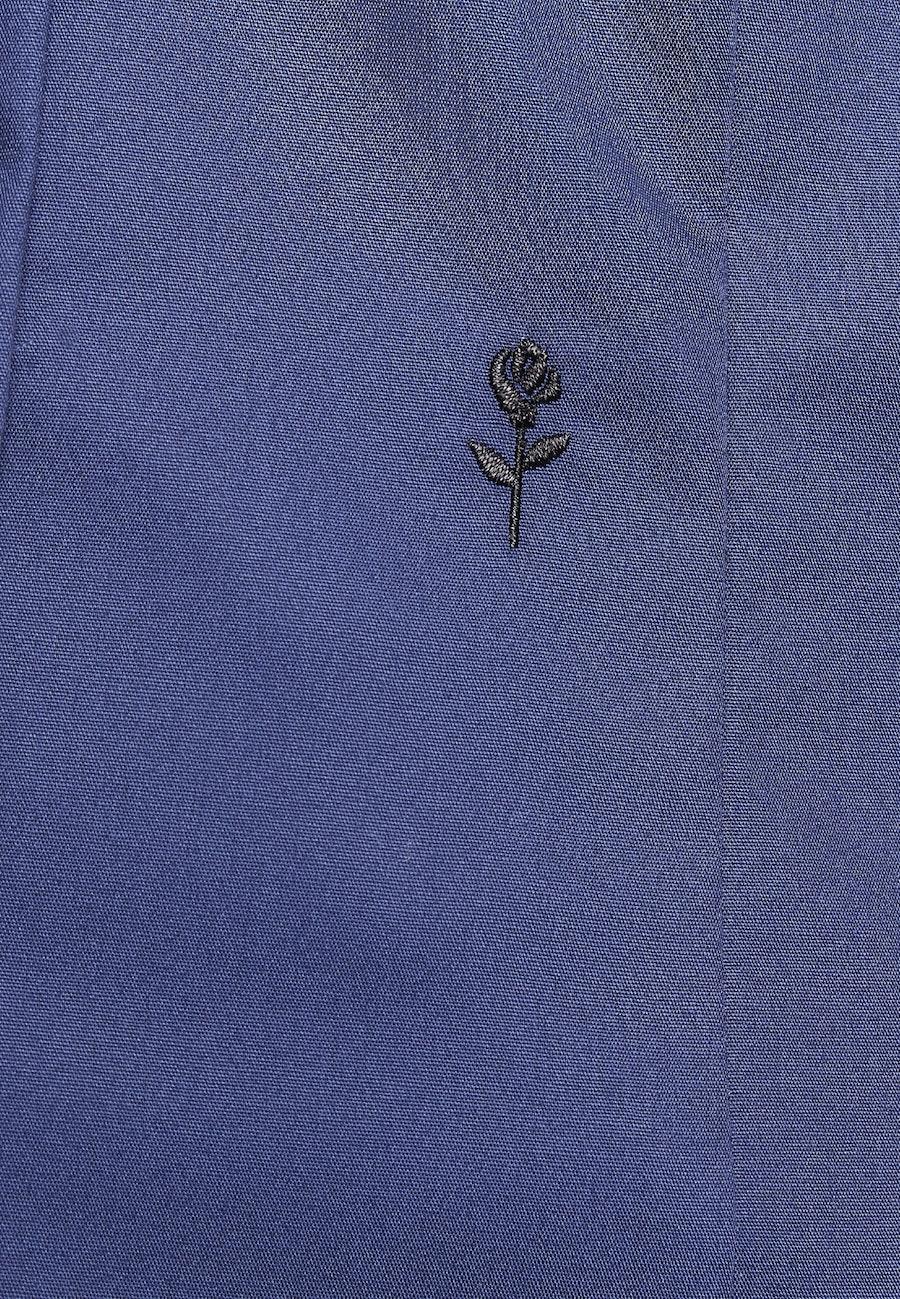 Bügelfreie Popeline Kelchkragenbluse aus 100% Baumwolle in Dunkelblau    Seidensticker Onlineshop