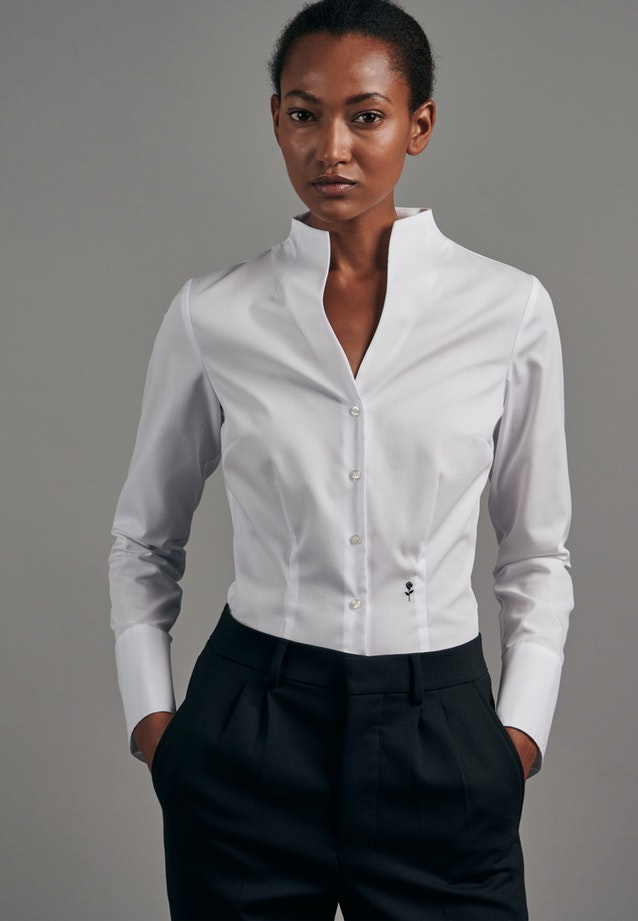 Non-iron Popeline Chalice Blouse made of 100% Cotton in White |  Seidensticker Onlineshop
