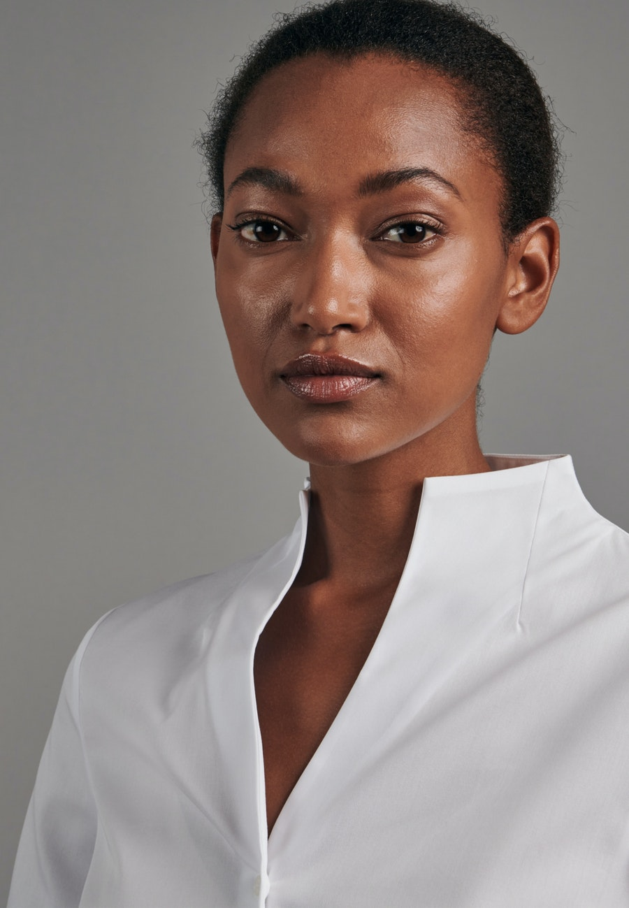 Non-iron Poplin Chalice Blouse made of 100% Cotton in White |  Seidensticker Onlineshop