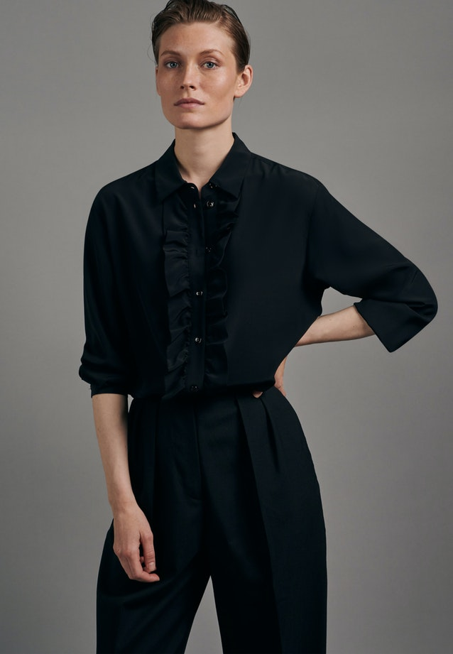 Satin Shirt Blouse made of 100% Silk in Black |  Seidensticker Onlineshop