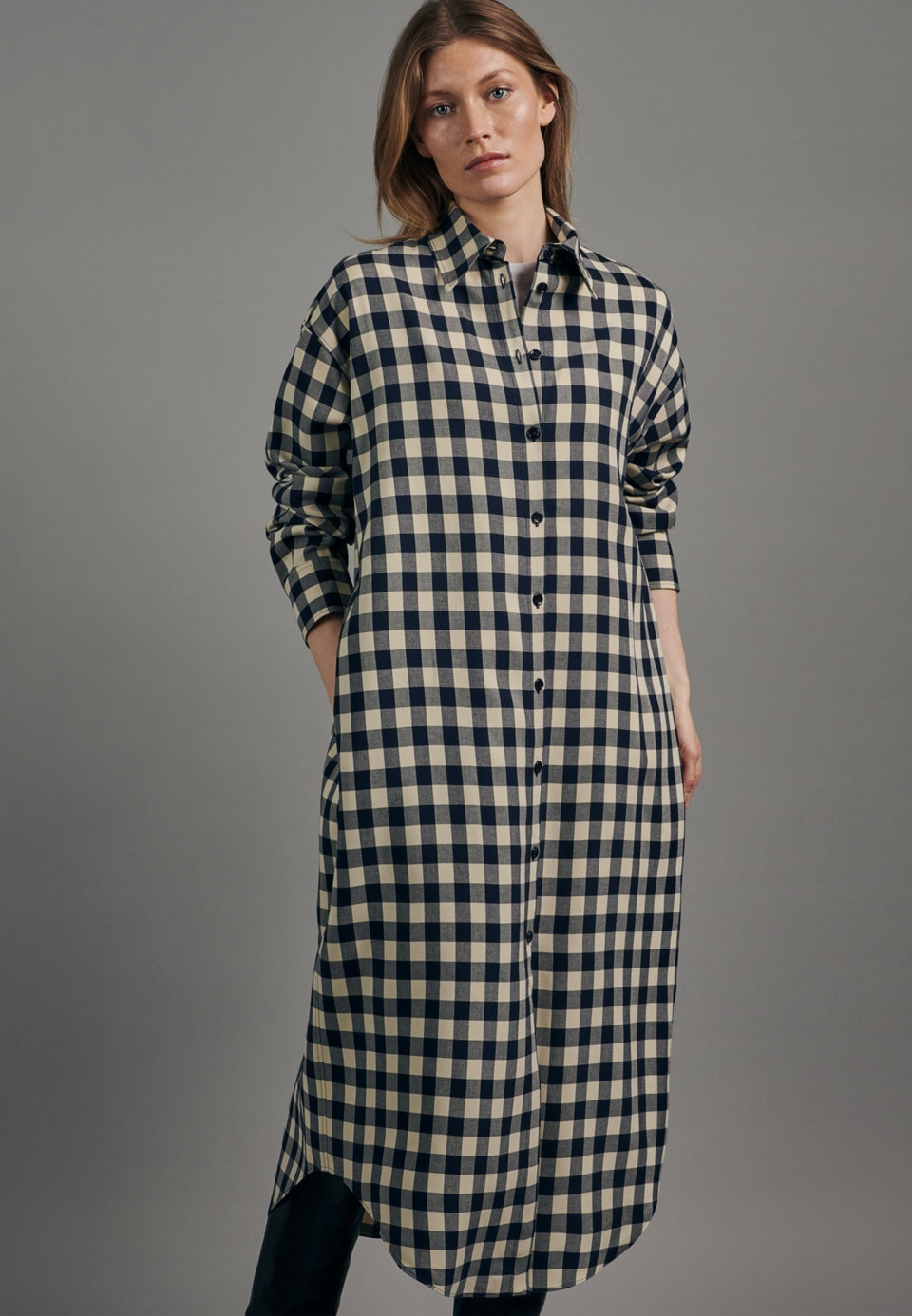 Twill Maxi Dress made of 100% Viscose in Dark blue |  Seidensticker Onlineshop