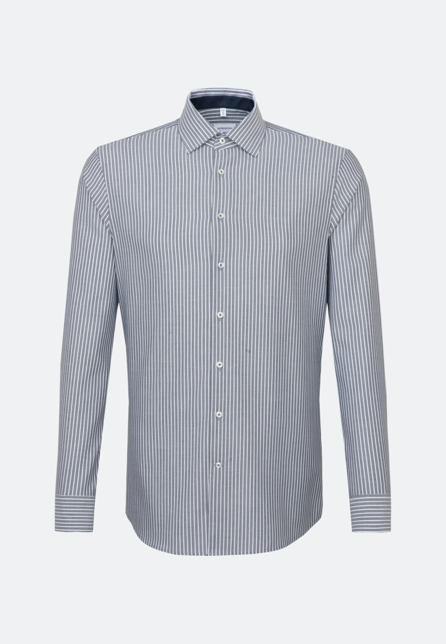 Non-iron Oxford Business Shirt in Shaped with Kent-Collar in Dark blue |  Seidensticker Onlineshop