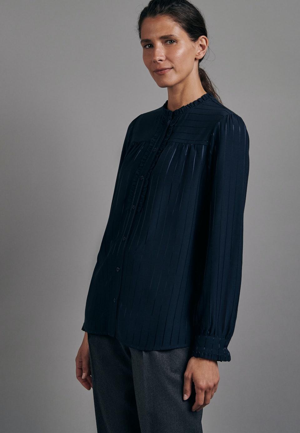 Satin Stand-Up Blouse made of viscose blend in Dark blue |  Seidensticker Onlineshop