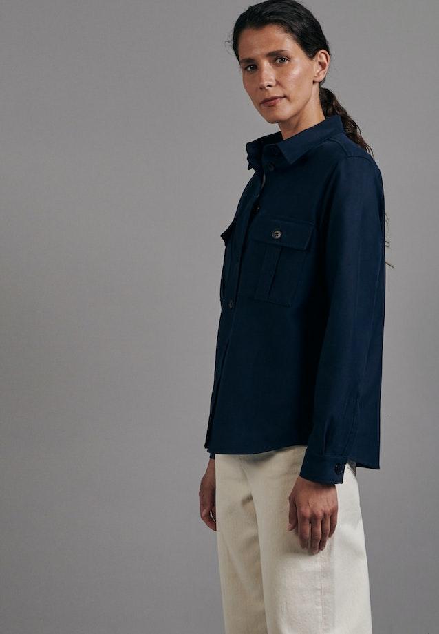 Twill Shirt Blouse made of cotton blend in Dark blue |  Seidensticker Onlineshop