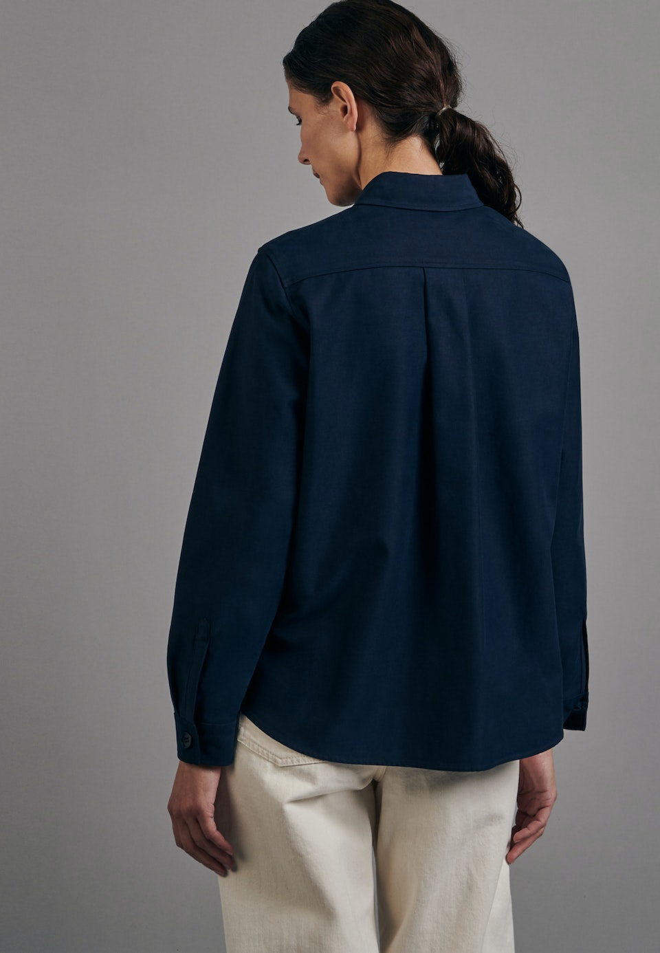 Twill Shirt Blouse made of cotton blend in Dark blue |  Seidensticker Onlineshop